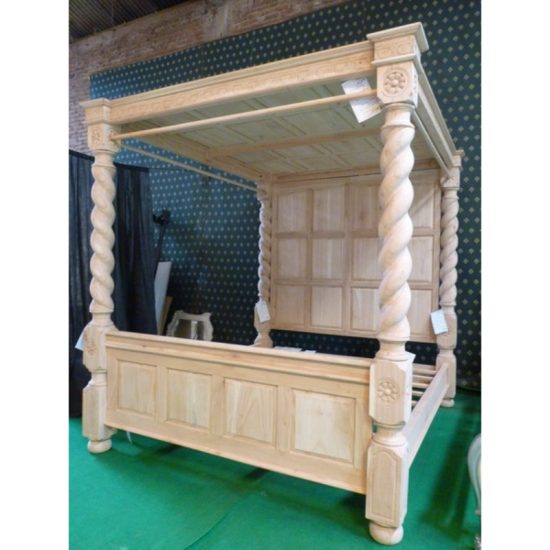 Tudor style Four Poster Bedframe with Solid Roof ~ Oak Wood 1