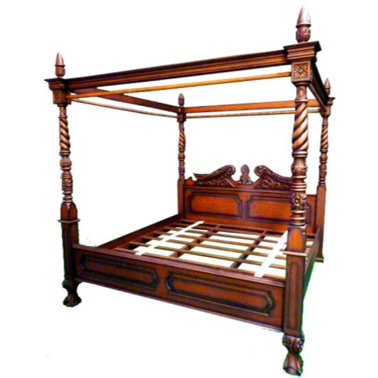 Queen Anne Style Mahogany Four Poster Bedframe 1