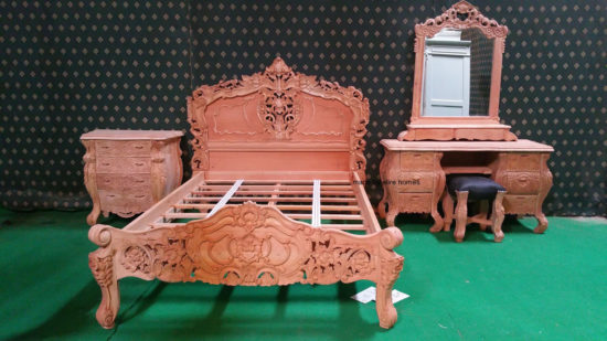 BESPOKE Gothic Style carved oriental bedframe with upholstery 1