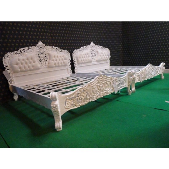 Super King White French style Rococo upholstered bed 2
