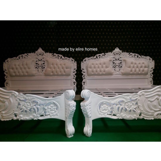 Super King White French style Rococo upholstered bed 3