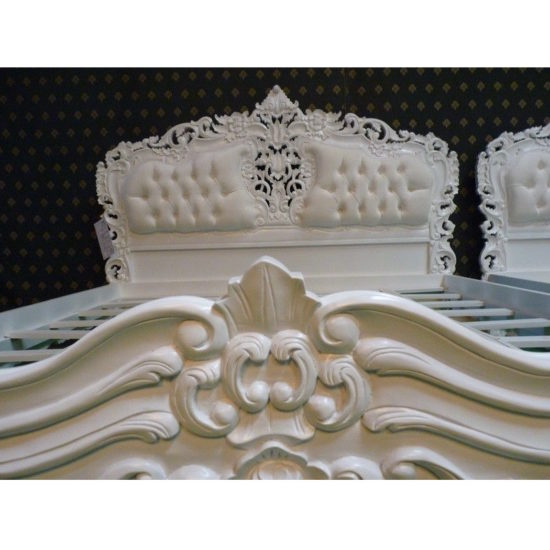 Super King White French style Rococo upholstered bed 4