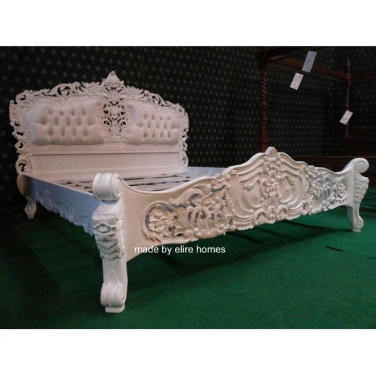 Super King White French style Rococo upholstered bed 5