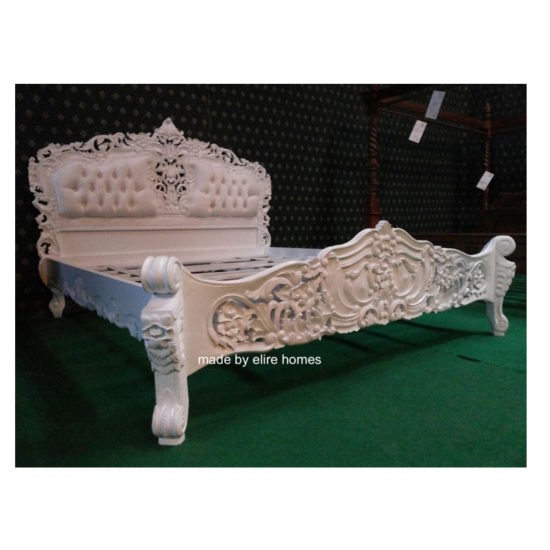 Super King White French style Rococo upholstered bed 1
