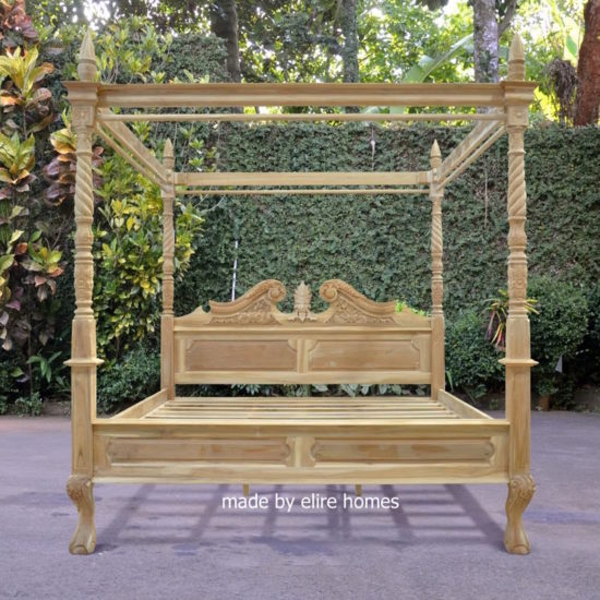 Four Poster Teak Wood Bed 1