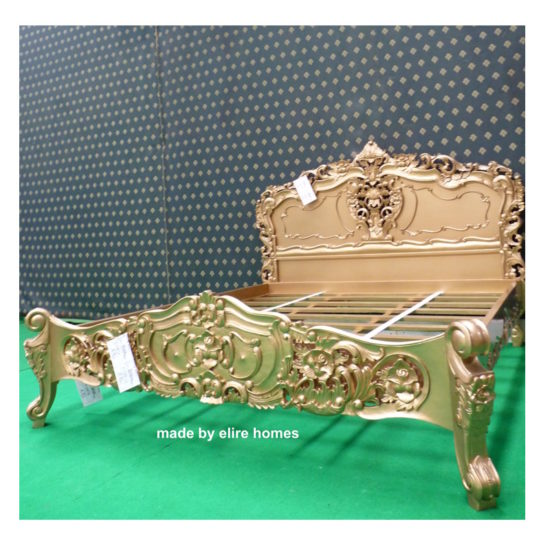 Super King Gold French style Rococo bed 4